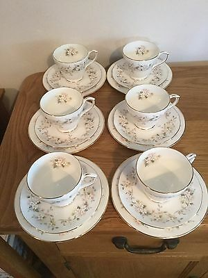 """Set Of Six Duchess """" Caprice """" Fine Bone China ,Trio's Of Cup, Saucer & Plate"""
