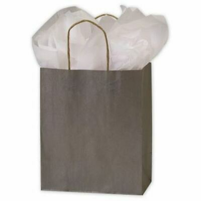 250 Silver Metallic-on-Kraft Paper Bags Shoppers 8 1/4 x 4 3/4 x 10 1/2""