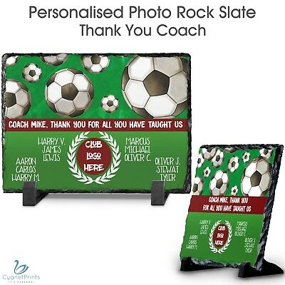 Personalised Rock Slate Custom Photo Frame Image Plaque Football Coach Award