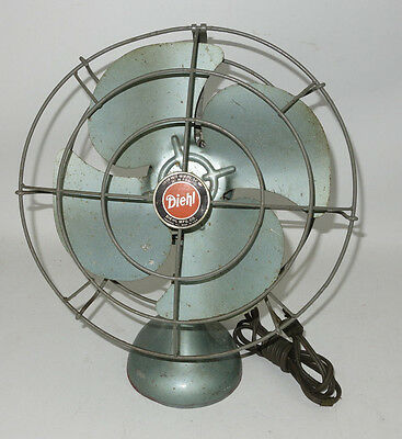 Vintage Diehl Electric Fan Art Deco Table Type Industrial