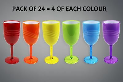 Plastic Wine Glasses Goblets Wave High Quality BBQ Party Wedding Glasses Pack 24