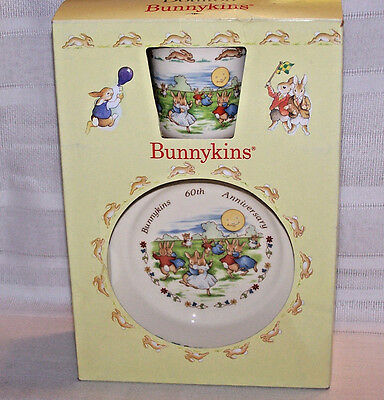 ROYAL DOULTON Bunnykins 2 pc set 60th Anniv Dancing in the Moonlight plate cup