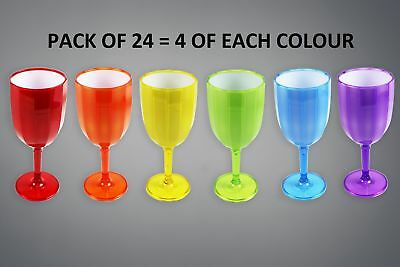 Plastic Wine Glasses Goblets Ribbed High Quality BBQ Party Wedding Glasses x 24