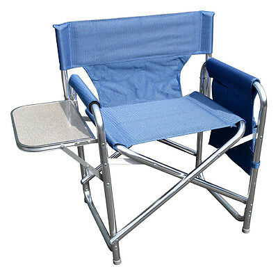 Blue Sturdy Portable Travel Camping Folding Directors Chair with Pockets & Table