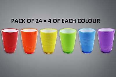 Plastic Drinks Tumbler Party Glasses High Quality Assorted Wave Set Pack of 24