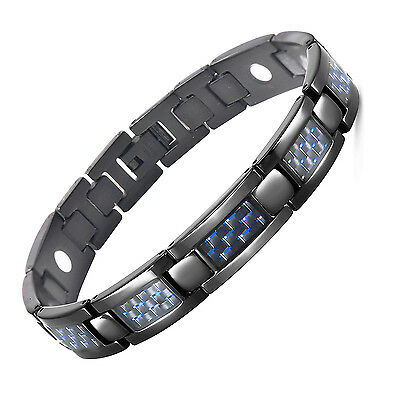 Mens Bracelet with Blue Carbon Fiber Magnetic Stainless Steel Black Bracelet