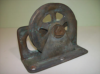 "Vintage Solid Bronze Deck Block - Sailboat Block Steering Pulley 5"" Sheave"