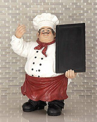 Old World French Chef Chalkboard Statue Message Dinner Menu Decor Kitchen Bistro