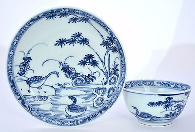 18th Century Chinese Blue & White Tea Cup & Saucer with Duck Goose Bird