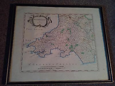 Stunning Antique Framed South Wales Map Print By Robert Morden