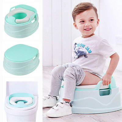 Baby Kids Potty Training Step Stool Soft Padded Travel Toilet Seat 3in1 Green