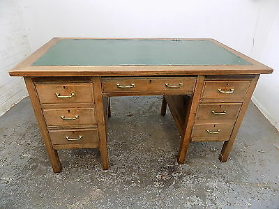 vintage,1930's,twin pedestal,desk,drawers,home,office,writing,green top,6 drawer