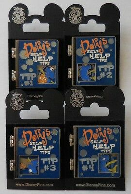 Disney Pin DLR Dory's Self Help Tips 2007 Complete Set Of 4 Pins New
