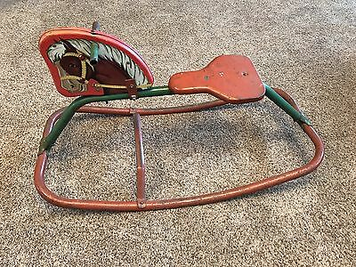 Vintage Rocking Horse, Painted Tin Head, Child's Toy Collectible, Red/Green