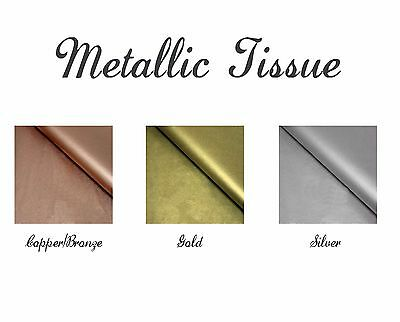 5 or 10 Sheets Metallic Tissue Paper - Copper Gold or Silver gift wrapping craft