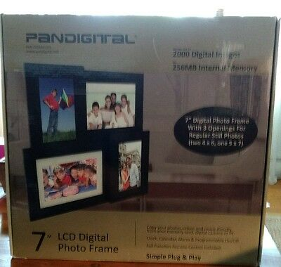 "Pandigital 7"" LCD Digital Picture Frame Photo Rotation 3 Spots for Stills Remote"