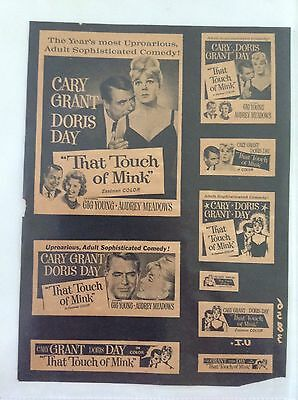 Rare Movie Ad Mat Print That Touch Of Mink Doris Day Cary Grant Poster Lobby Ook