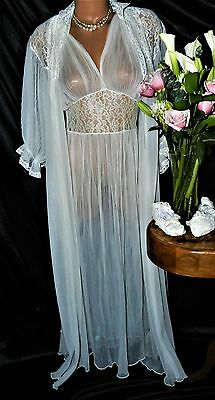Peignoir, Nightgown Set. True Vintage. XL by SMC.  From the 40's, long, chiffon.