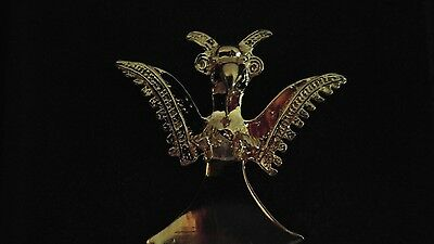 """Pre-Columbian Golden Eagle - Replica in 6"""" x 6"""" Frame - Hand Made - Gold plated"""