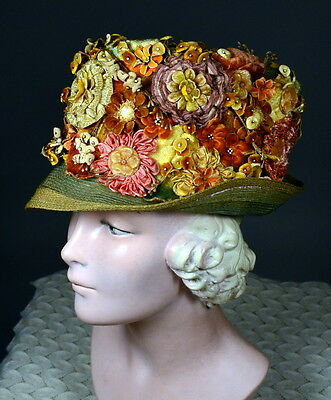 20s Vintage Floral Flapper Cloche Hat_RIBBON WORK_ROSETTES_SPRING FLOWERS!