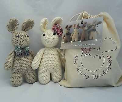 Crochet Kit -Twin Bunnies Arthur & Betsy Luxury Kit - Learn to Crochet beginners