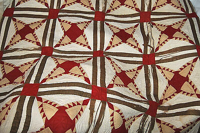 "Antique White Red Brown Beige Hand Made Quilt 78"" x 78"" c1800s FOR RESTORATION"