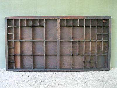 Antique Type Tray Vintage Primitive Printer's Drawer Shadow Box, 54 Sections