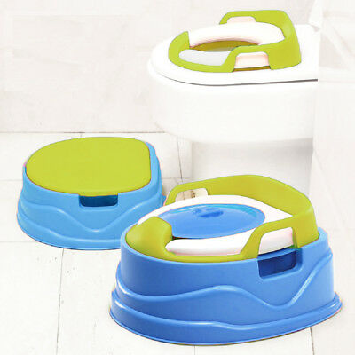 Babyyuga Baby Kids Potty Training Step Stool Soft Padded Toilet Seat 3in1 Blue