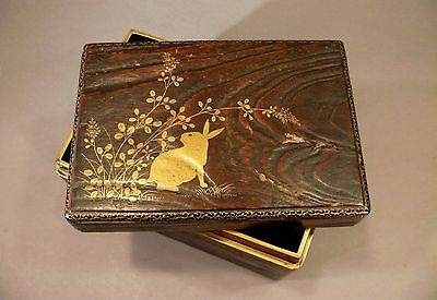 Fine Antique Meiji Japanese Gilt Painted RABBIT Wood Lacquer Tobacco Tea Box