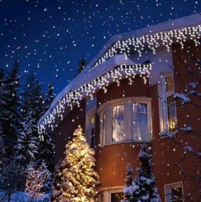 Christmas White Led Icicle Snowing Indoor Outdoor Xsmas Lights 240/360/480/720