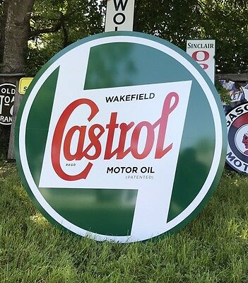 "Antique Vintage Old Style Castrol Motor Oil Sign. 36""! WOW!"