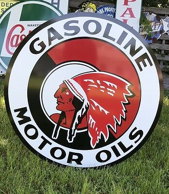 "Antique Vintage Old Style Red Indian Motor Oil Sign! 40""!!!"