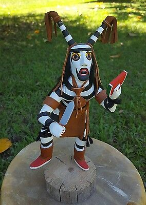 """Authentic Handmade Native American Navajo """"Clown"""" Kachina Doll signed by Artist"""