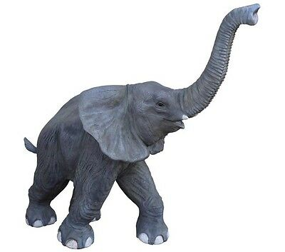 Elephant Resin Statue Life Size Baby Zoo Elephant Trunk Up Prop - Free Ship
