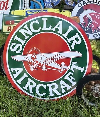 Antique Vintage Old Style Sinclair Aircraft Motor Oil Sign!