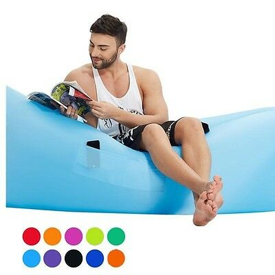 Inflatable Banana Lounger Beach Camping Bed with Side Pocket in 13 Colours