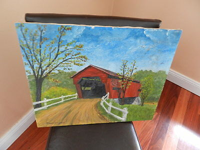 "Amateur Oil on Canvas Painting Rural Covered Bridge 16"" x 20"""
