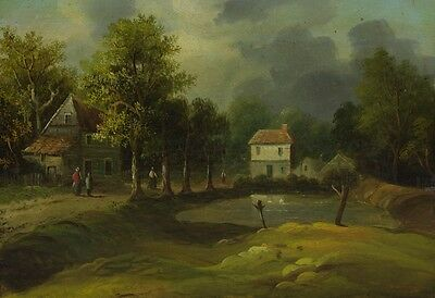 By the Mill - 19th Century Original Oil Painting