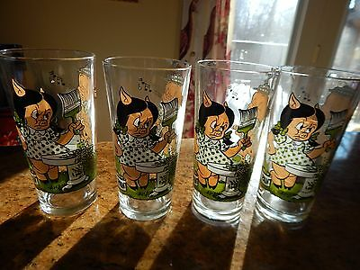 Set of 4 Collectible Pepsi 1976 Warner Bros Loony Tunes Porky Pig/Petunia Glass