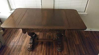 antique heavy carved English Oak Draw Leaf Dining Pub Table - fine condition