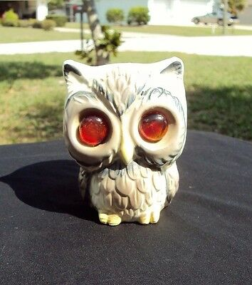 "Vintage Ceramic Cute Owl Candle Holder Eyes Glow 4"" Tall Japan"