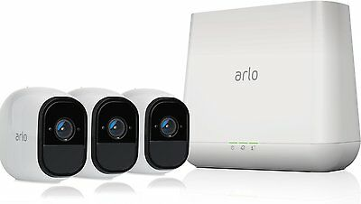 NETGEAR Arlo Pro Security System - 3 Rechargeable Wire-Free VMS4330-100NAS NEW