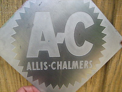Vintage 8'' by 8''   Allis-Chalmers Stainless Sign Metal AC Tractor?
