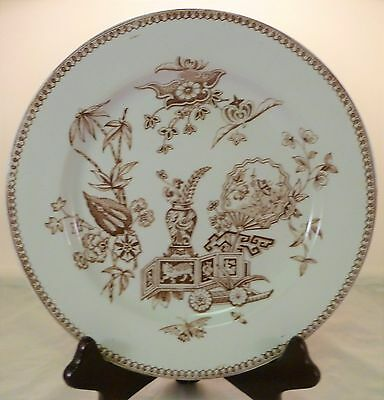 Pair Aesthetic Movement T Elsmore & Son Brown Transfer Butterfly/Fan Plates 1891