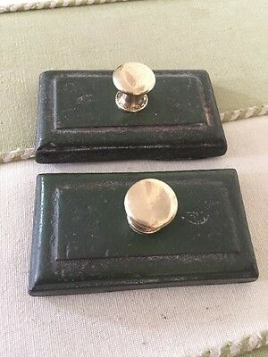 Two Antique Cast Iron Paperweights With Brass Knobs