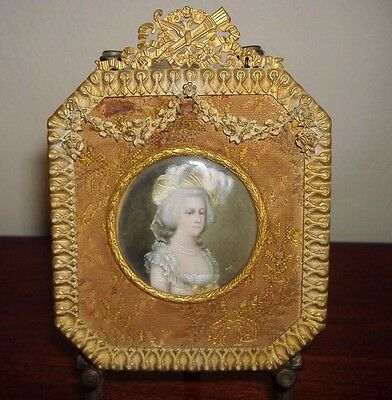 Beautiful Miniature Portrait Marie Antionette In Antique Gold Metal Frame