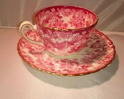 Victorian Radfords Tea Cup And Saucer Demitasse Red & White Floral Teacup