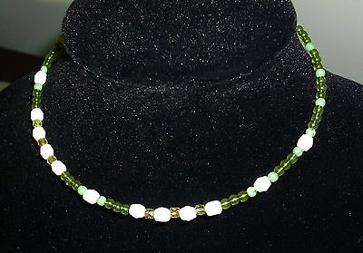 48 New Rebecca Malone Beaded Chokers Green, White, and Crystal 1 size fits all