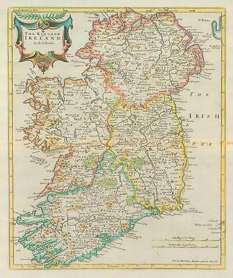 1722 - Rare Original Large Antique Map of KINGOM OF IRELAND by MORDEN (2)