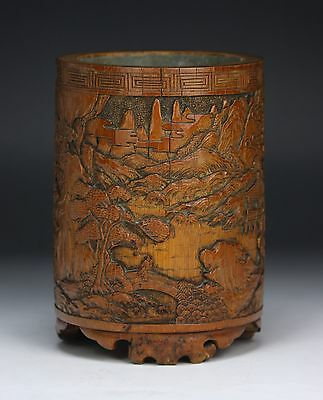 A Chinese Antique Bamboo Carved Brush Pot, Middle Qing Dynasty